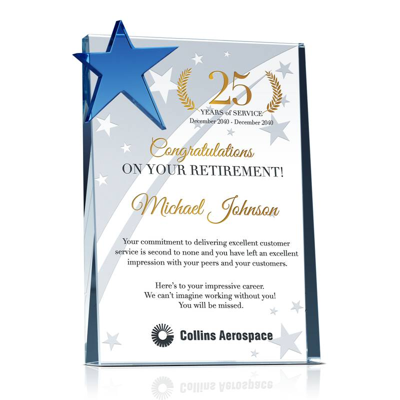 Custom Engraved Crystal Employee Retirement Award with Years of Service