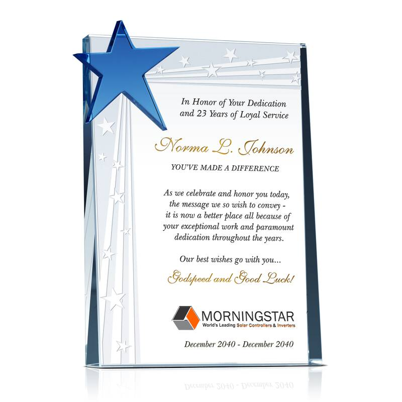 """""""Best Wishes"""" Crystal Employee Retirement Gift Plaque"""