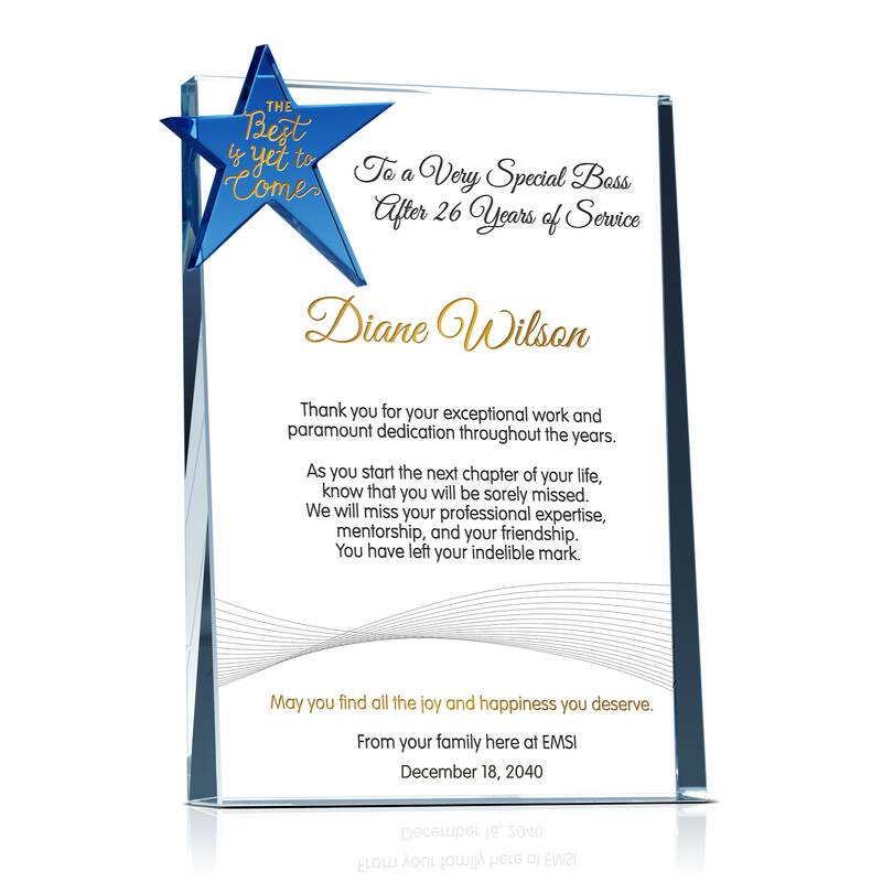 Unique Crystal Retirement Farewell Gift Plaque for Boss, Manager, Supervisor