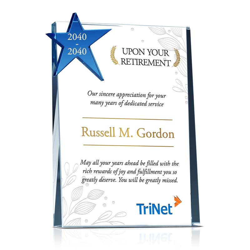 Custom Crystal Retirement Gift Plaque for Man or Woman Co-worker