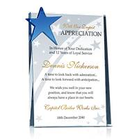 Crystal Star Employee Retirement Award Plaque