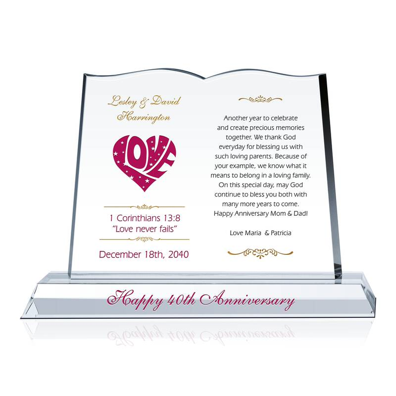 Anniversary Gift Plaque for Parents