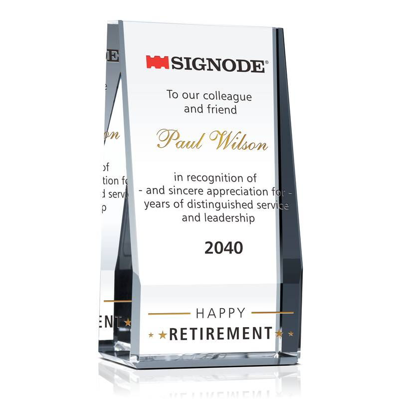 Crystal Employee Happy Retirement Award Plaque