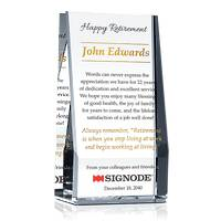 Crystal Wedge Retirement Gift Plaque