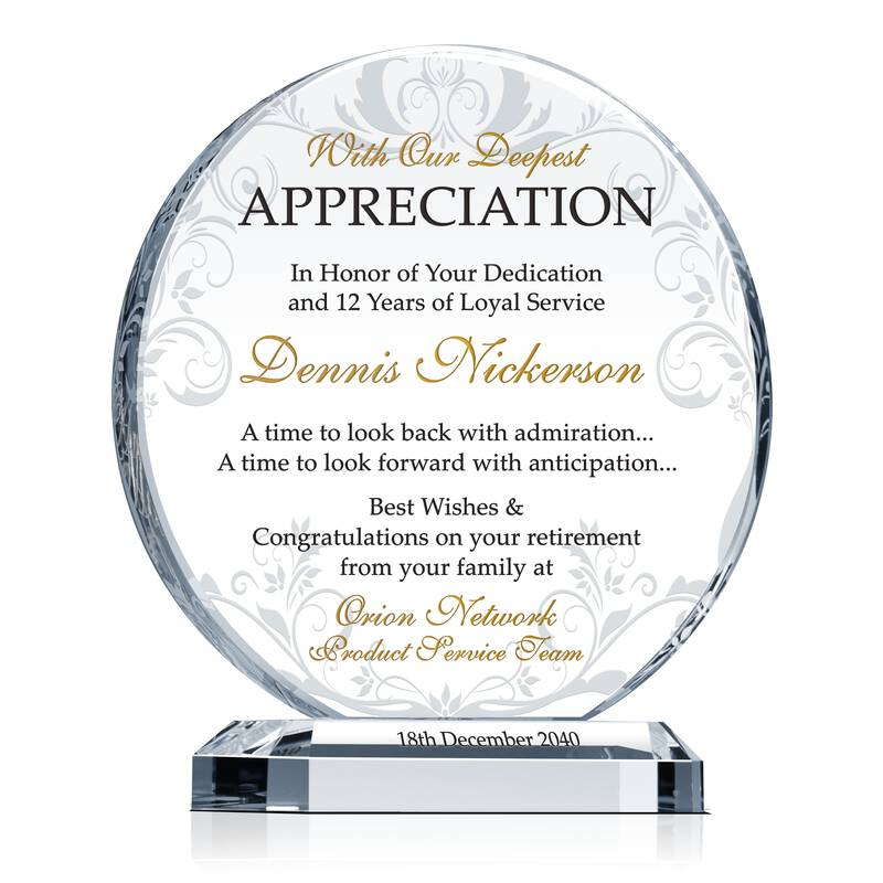 Retirement Appreciation Gift Plaque