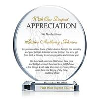Circle Shaped Crystal Pastor Appreciation Gift Plaque