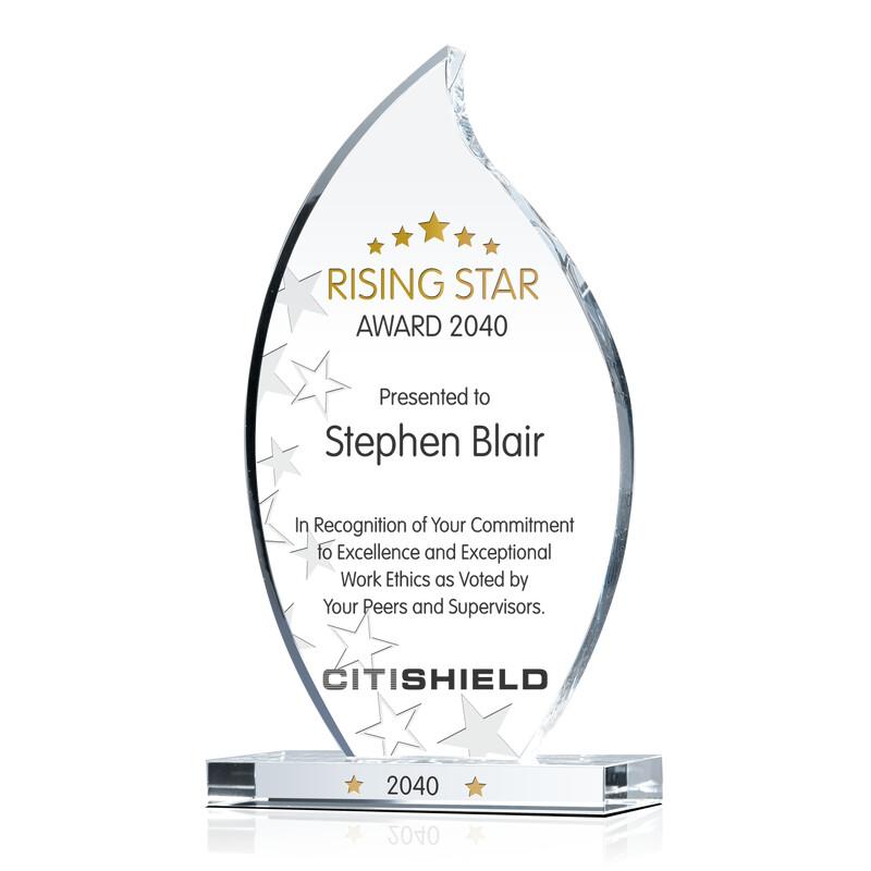 Custom Crystal Rising Star Award Plaque