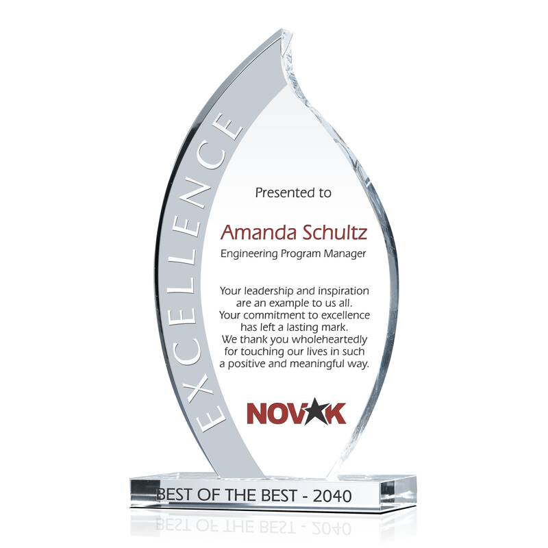Flame Shaped Crystal Corporate Leadership Award Trophy
