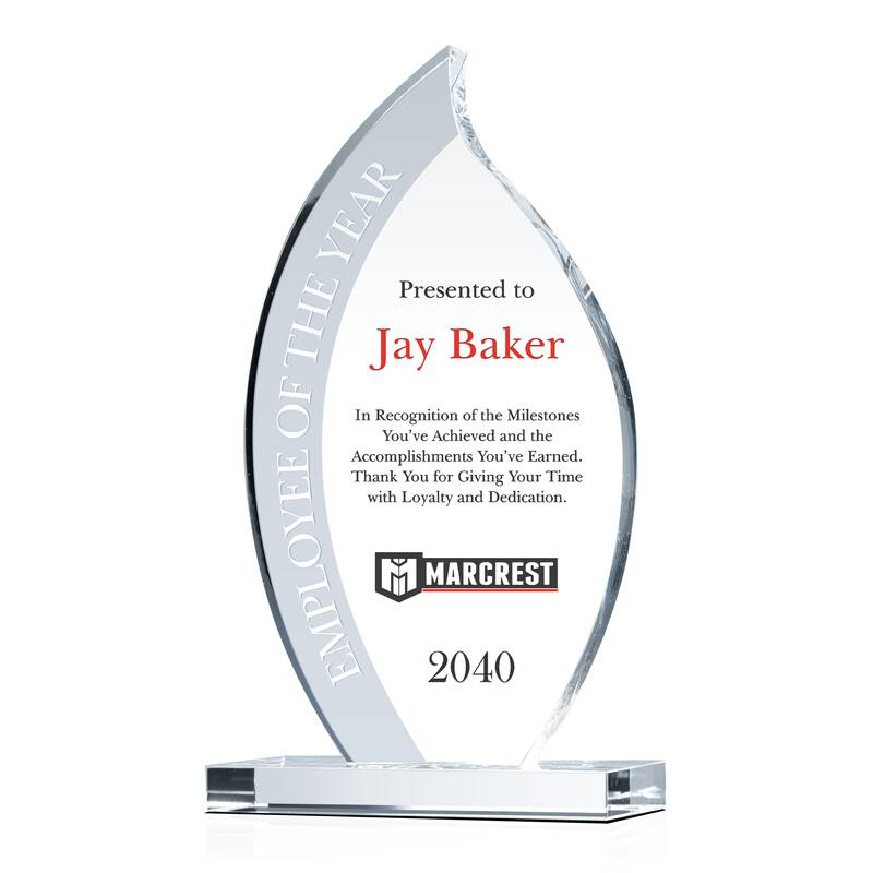 Flame Shaped Crystal Employee of the Year Award Plaque