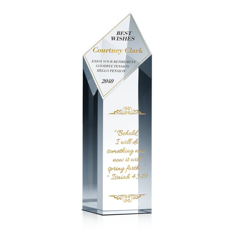 Dimond Tower Crystal Religious Retirement Gift Plaque for Co-worker, Manager, Supervisor