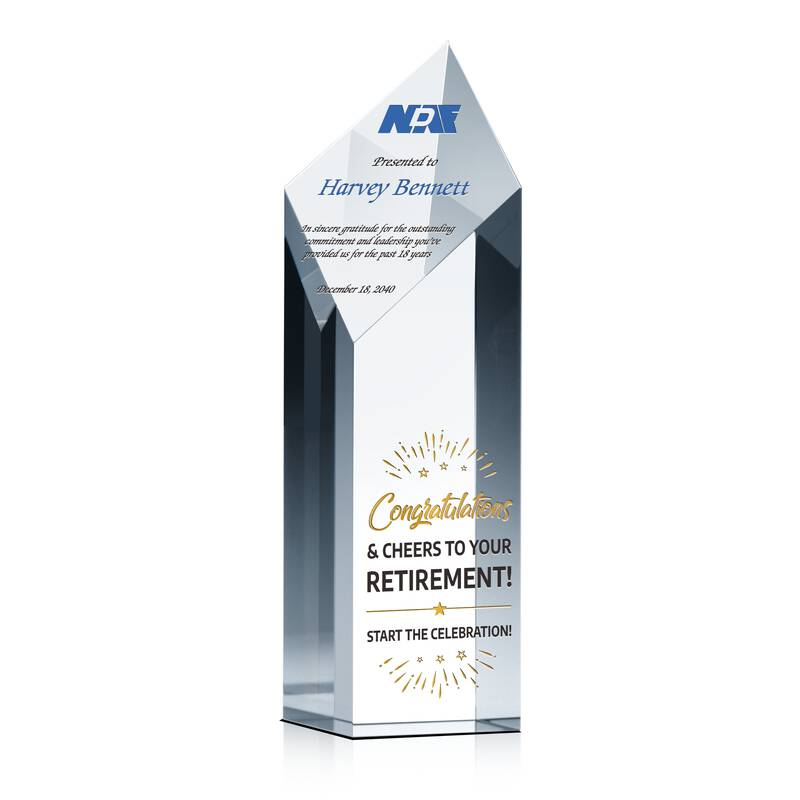 Crystal Retirement Congratulation Gift Plaque