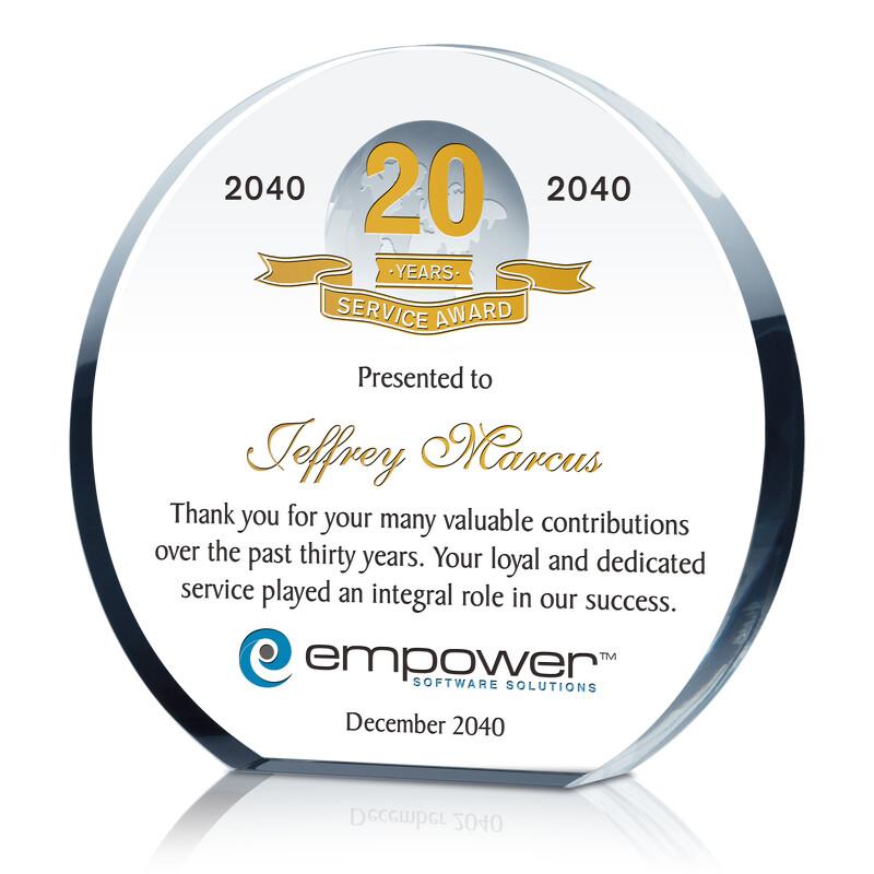 Circle Shaped Crystal Globe Employee Service Award