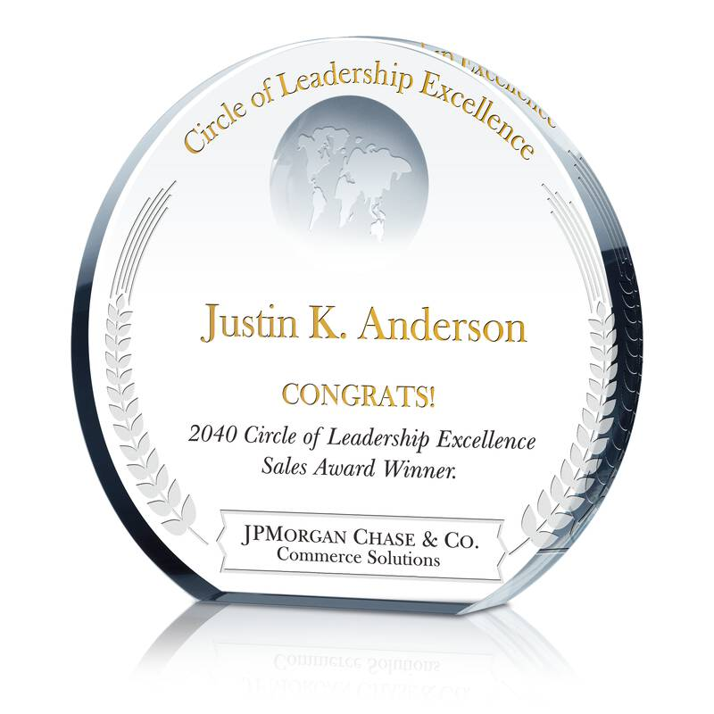 Crystal Globe Circle of Leadership Award Trophy