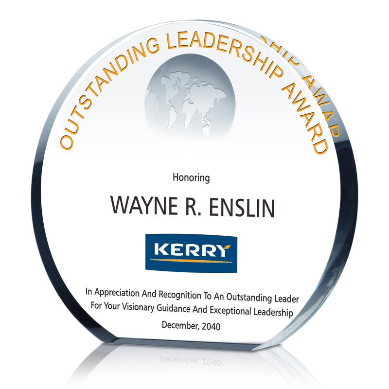 Crystal Globe Circle Shaped Leadership Award Plaque