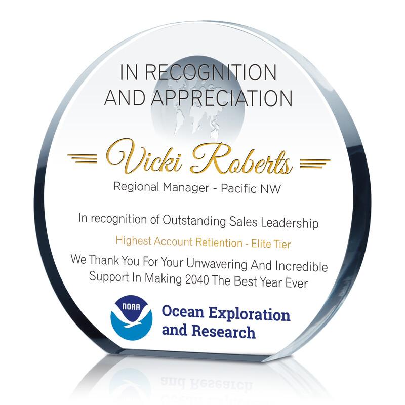 Custom Crystal Sales Leadership Recognition Award