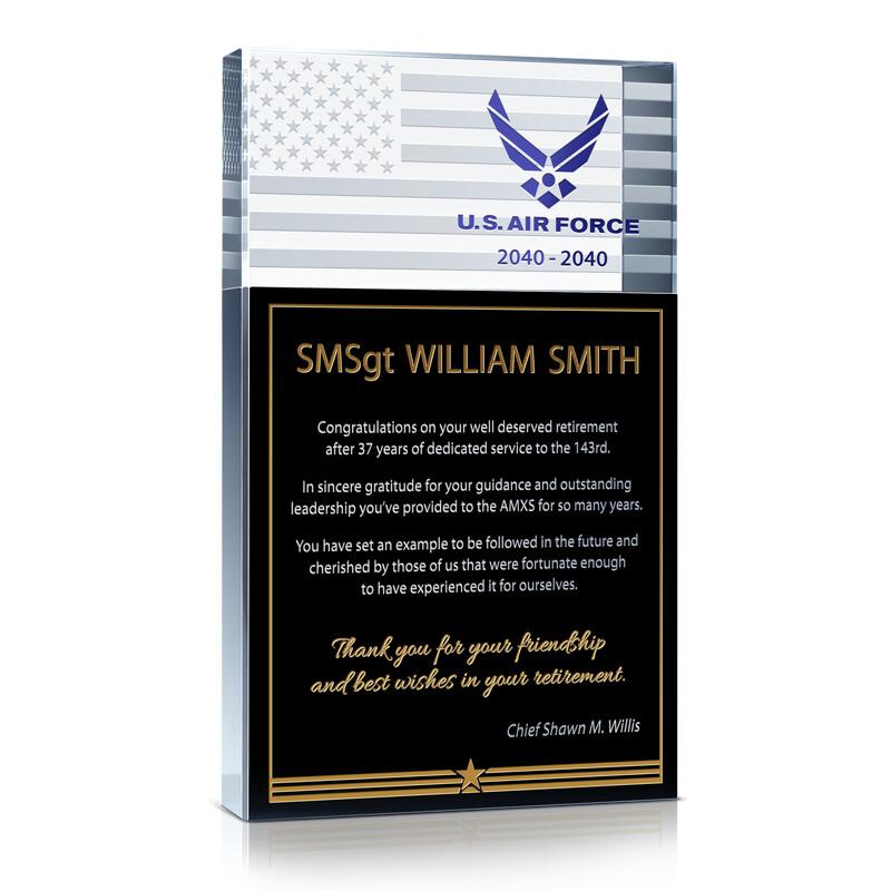 USAF Service Retirement Gift Plaque