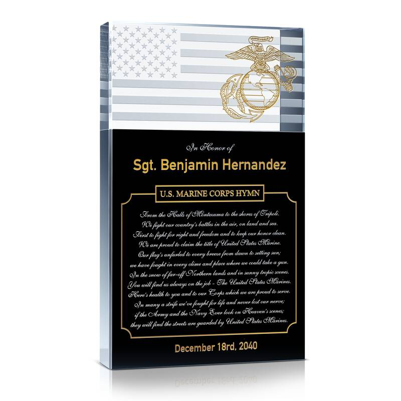 Custom Crystal USMC Gift Plaque Engraved with US Marine Corps Hymn