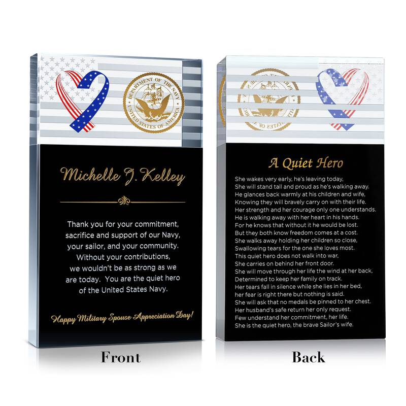 Personalized Crystal Military Spouse Appreciation Gift Plaque with Sailor's wife Poem