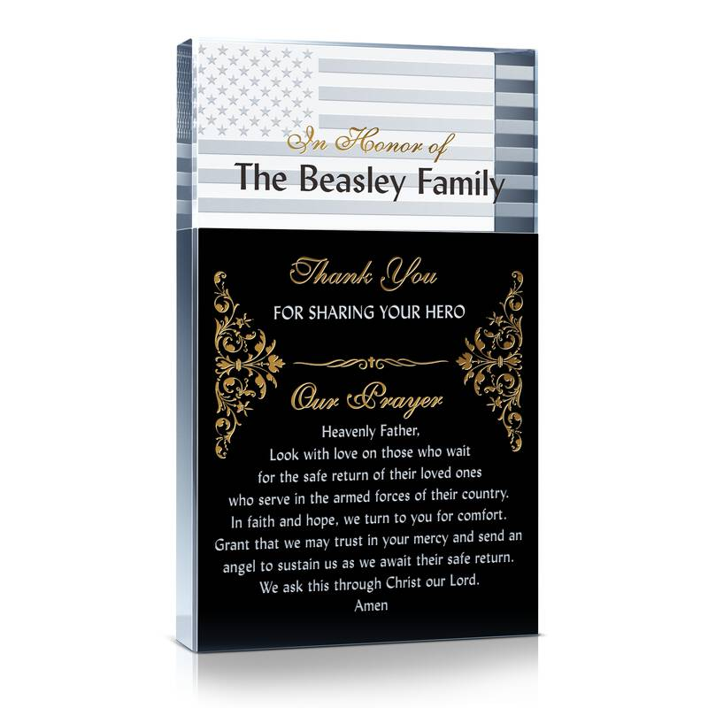 Custom Engraved Crystal Military Family Appreciation Gift with Military Family's Prayer