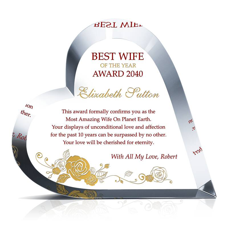 Heart Shaped Crystal Best Wife of the Year Award
