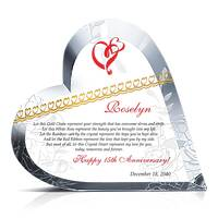 Heart Shaped Crystal 15th Wedding Anniversary Gift for Her