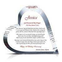 Crystal Heart Religious Anniversary Gift for Wife or Husband