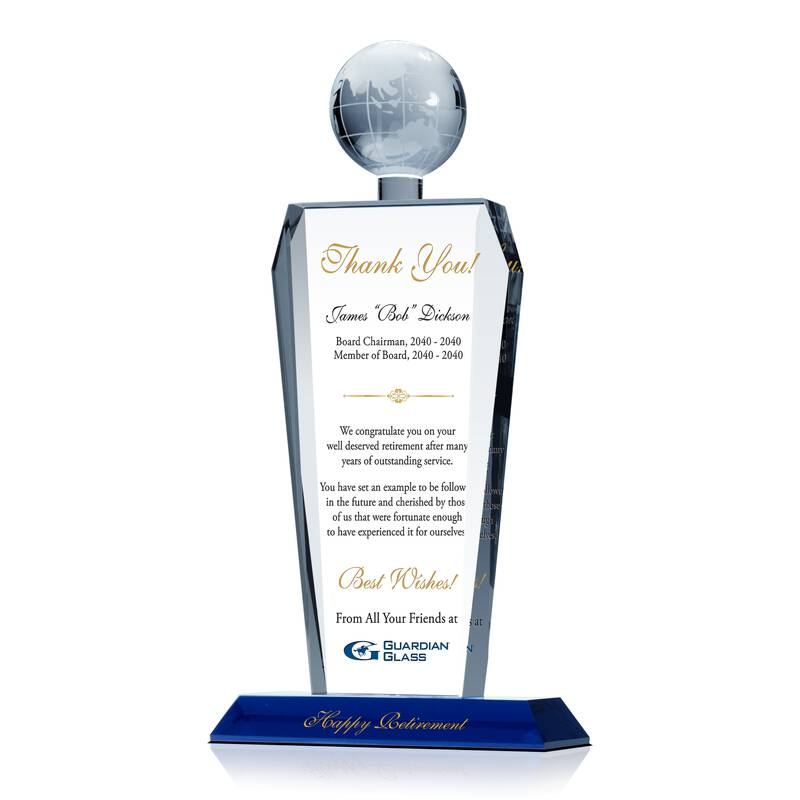 Crystal Globe Executive Retirement Gift Plaque