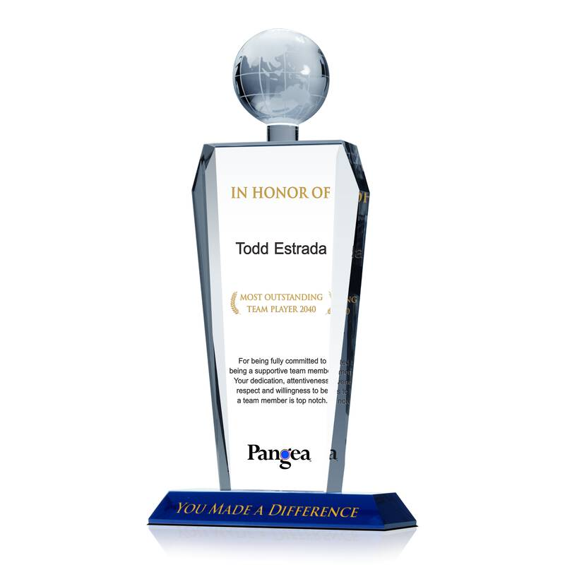 Custom Engraved Crystal Globe Employee Recognition Awards