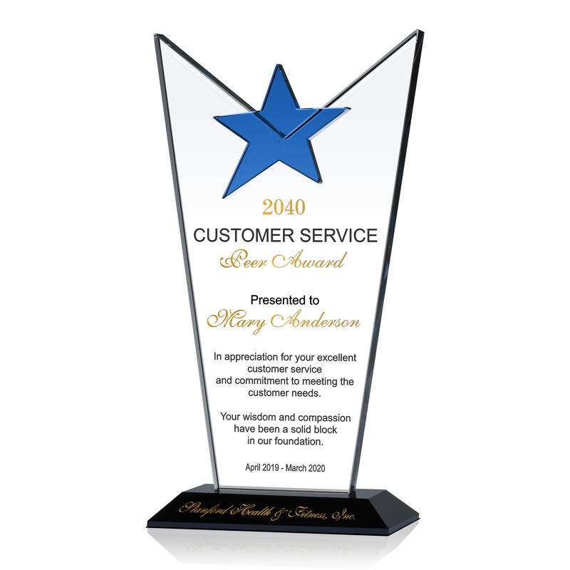 Star Crystal Customer Service Excellence Award Plaque