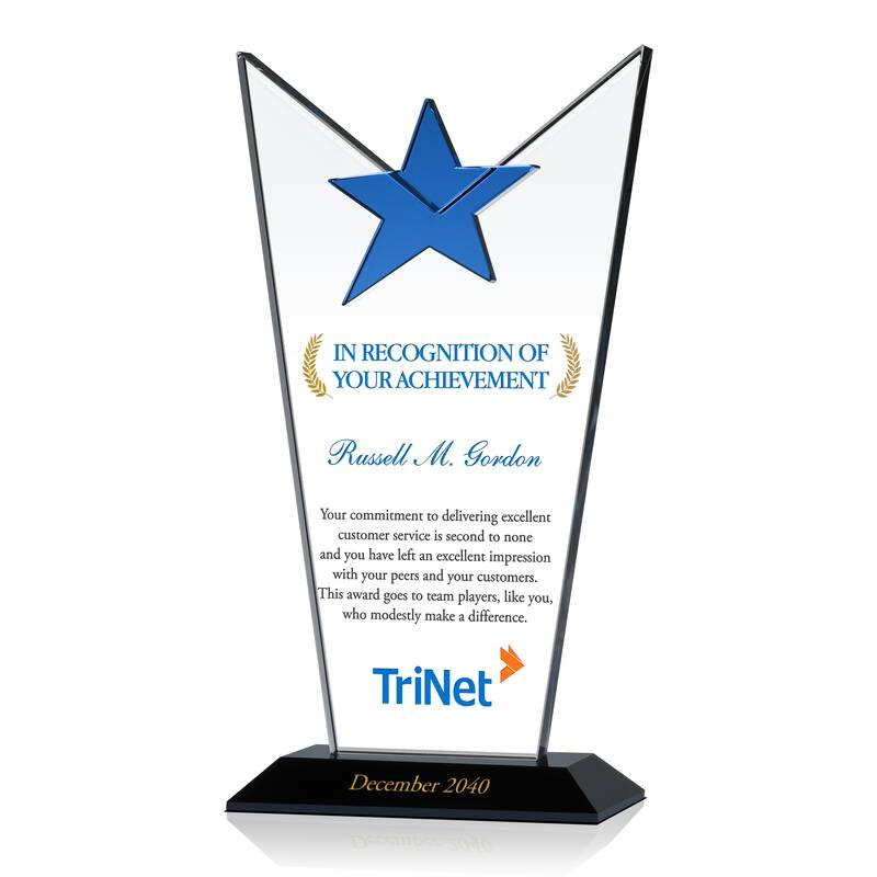 Crystal Star Employee Achievement Award Plaque