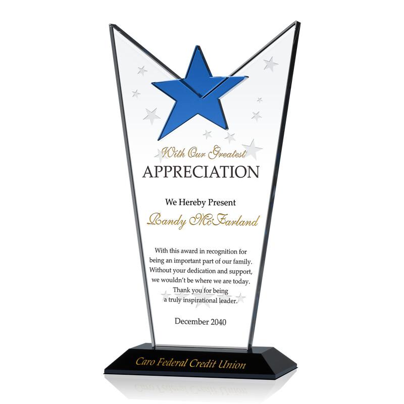Personalized Crystal Employee Appreciation Award Plaque
