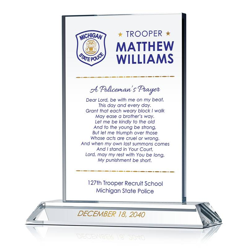 State trooper police prayer gift plaque