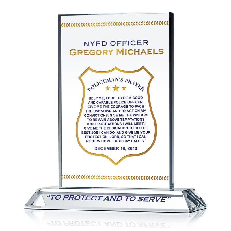 Policeman's prayer gift plaque