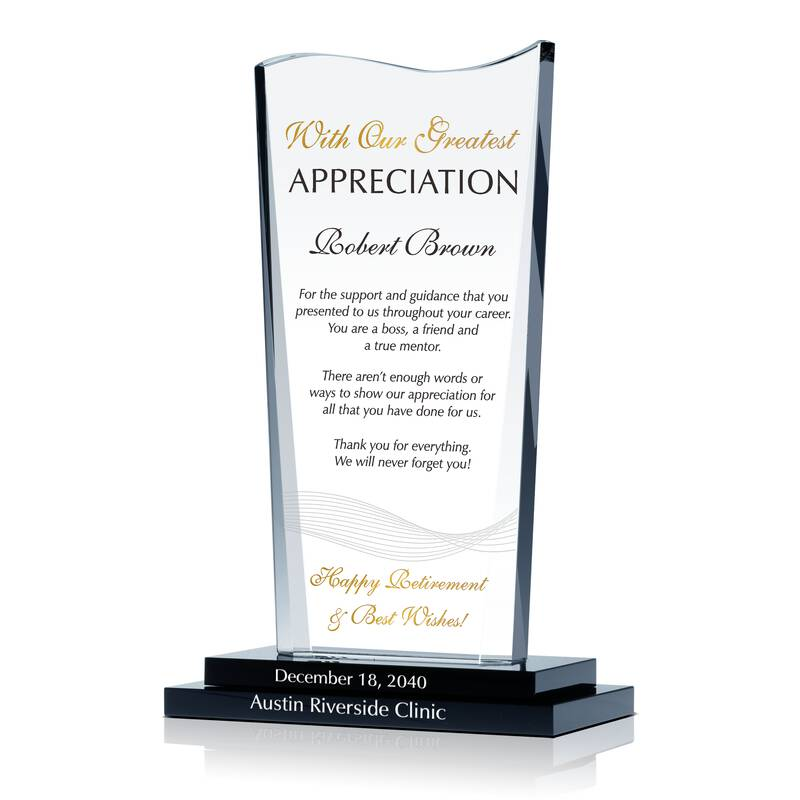 Crystal Retirement Farwell Gift Plaque for Boss, Manager, Supervisor