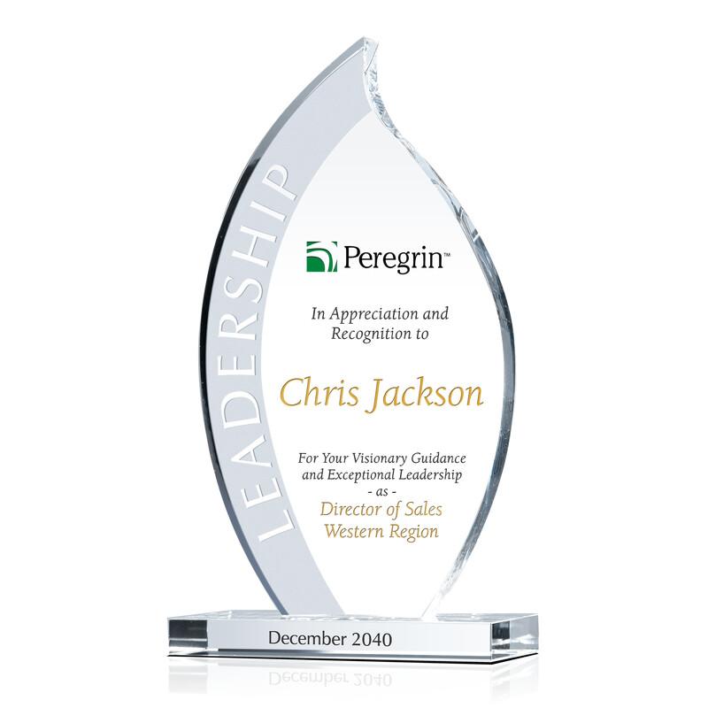 Flame Shaped Crystal Leadership Award Plaque