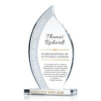 Personalized Flame Shaped Crystal Boss Appreciation Gift Plaque