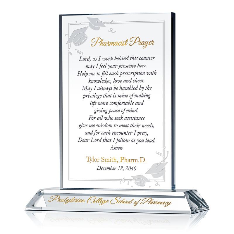 Personalized Pharmacist Prayer Graduation Gift Plaque