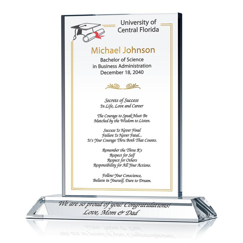 "Graduation Congratulation Gift with ""Secrets of Success"" Quote"