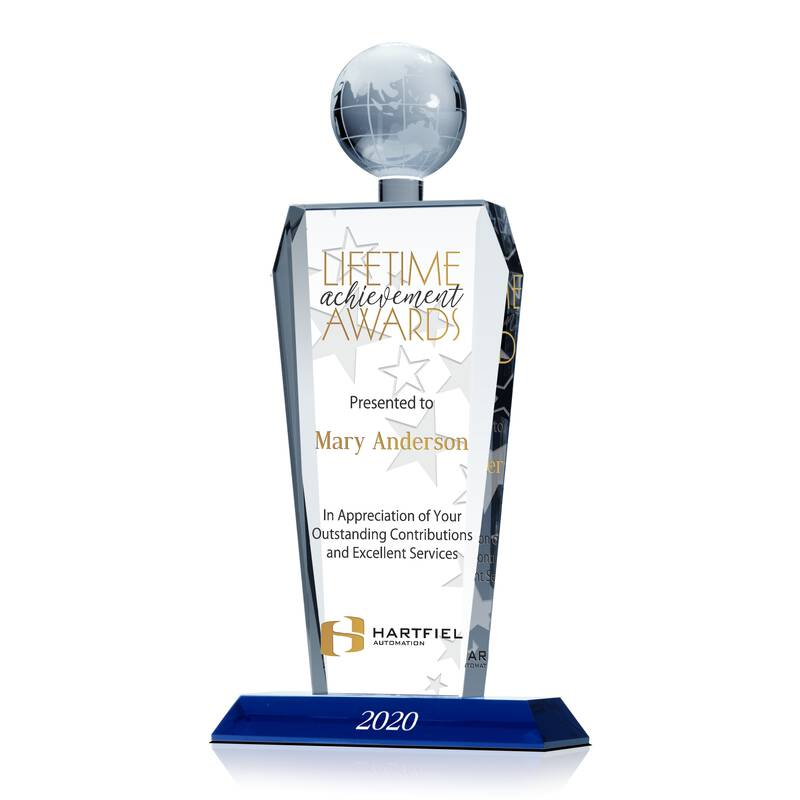 Crystal Imperial Globe Tower for Lifetime Achievement Recognition Awards