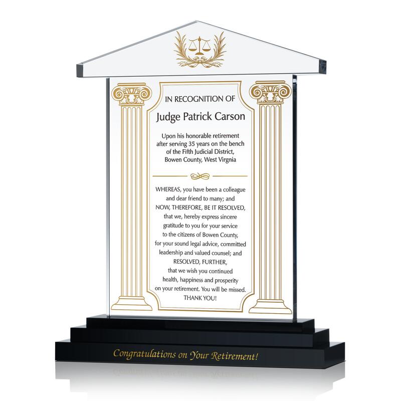 Judge Retirement Award Plaque