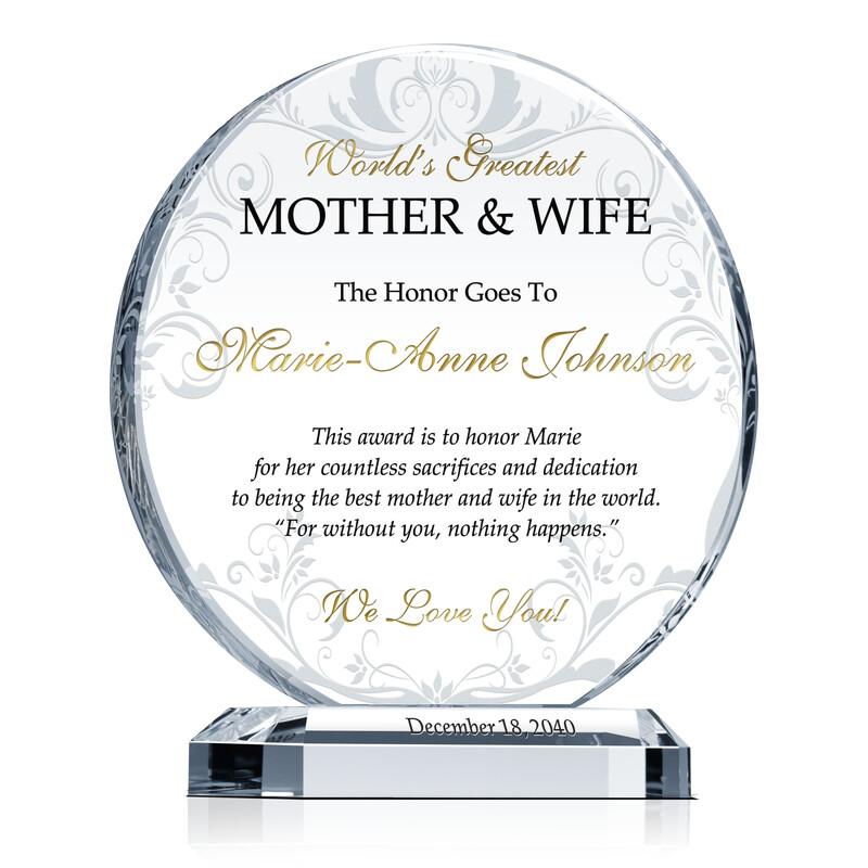 Best Wife & Mother Award Plaque