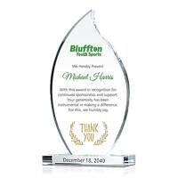 Flame Shaped Crystal Donor & Sponsor Appreciation Award Plaque