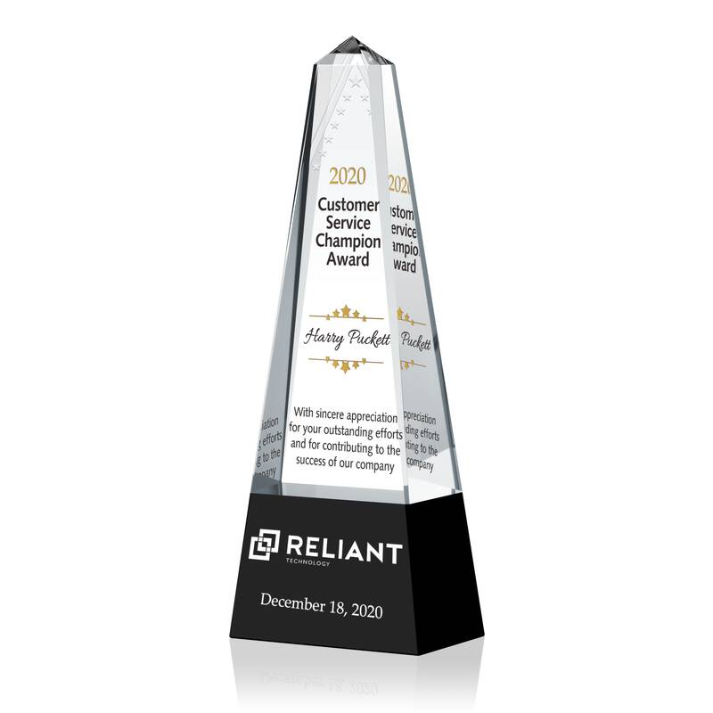 Personalized Crystal Customer Service Award Trophy