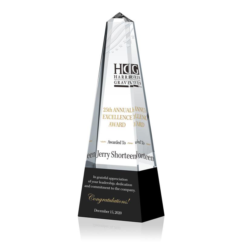 Crystal Obelisk Shape Employee Excellence Awards