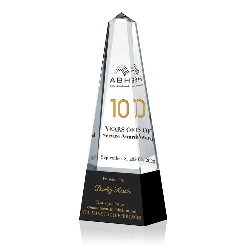Obelisk Shaped Crystal Employee Years of Service Awards