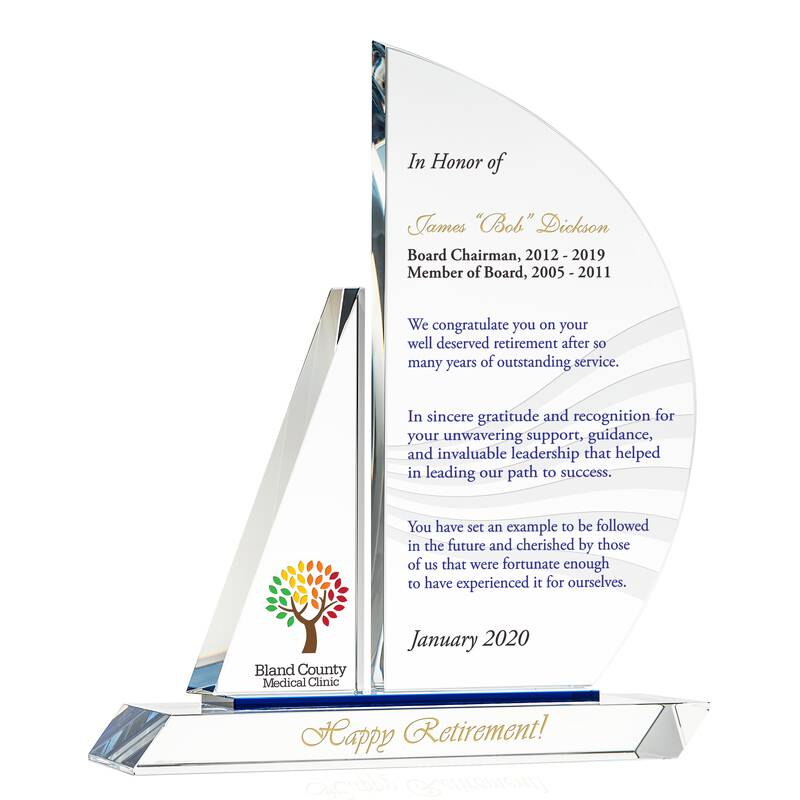 Crystal Sailboat Corporate Executive Retirement Gift Plaque
