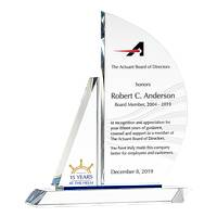 Crystal Sailboat Board Member Service Recognition Award Plaque