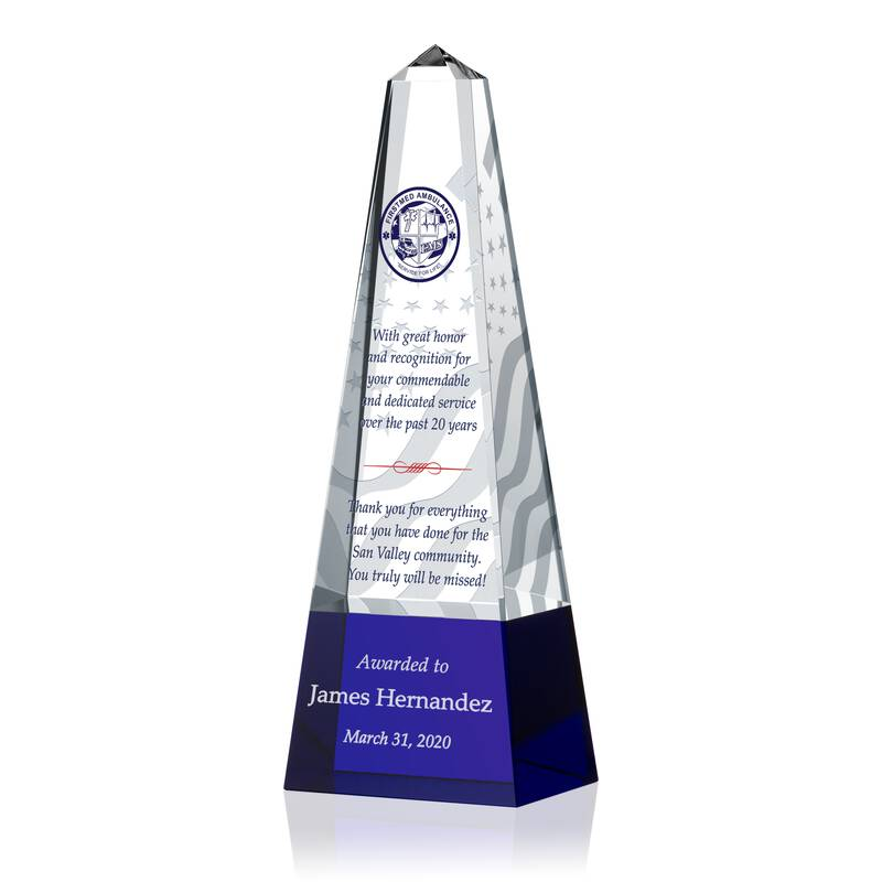 Crystal EMS Retirement Gift Plaque