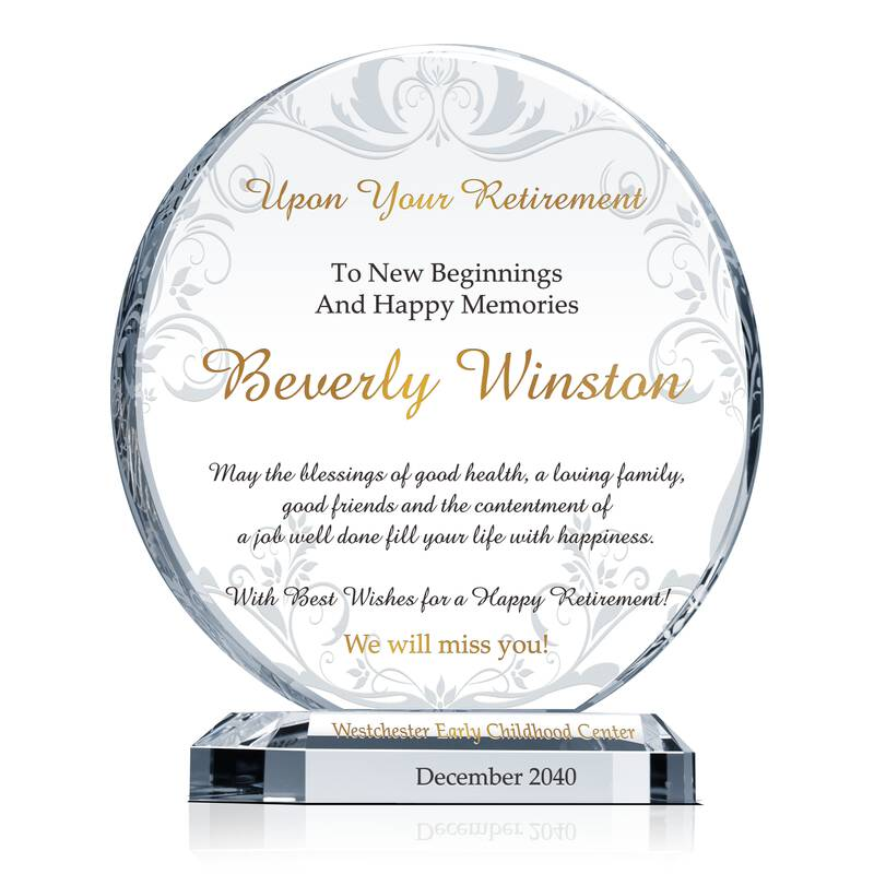 Circle Best Wishes Employee Retirement Gift Plaque