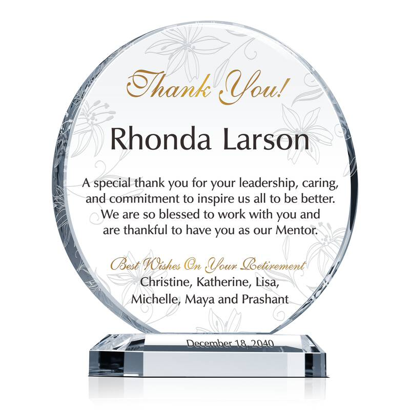 Crystal Circle Shaped Retirement Appreciation Gift Plaque for Mentor, Manager, Supervisor